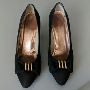 DAVID EVINS Bow Gold Leather Suede SHOE